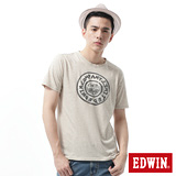 EDWIN 麻花紗手繪釦印花T恤-男-淺卡其