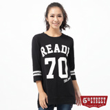 5th STREET 70數字印花長版T恤-女-黑色