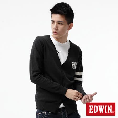 EDWIN 針織衫 學院風開襟線衫-男-灰色