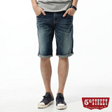 5th STREET 短褲 街霸基本牛仔短褲-男-酵洗藍
