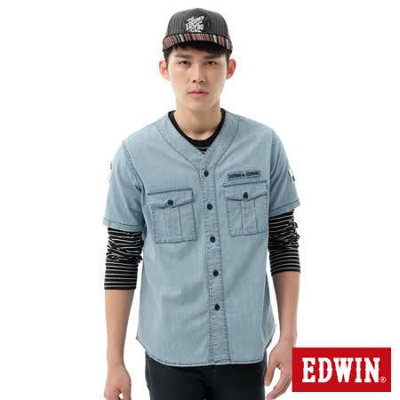EDWIN 棒球裝牛仔襯衫-男-石洗藍