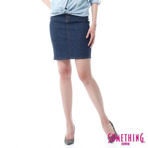 SOMETHING NEO排釦及膝窄裙~女~原藍色