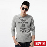 EDWIN 飛行LOGO植絨印花T恤-男-麻灰色
