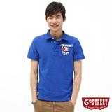 5th STREET 旗幟貼布繡POLO衫-男-寶石藍