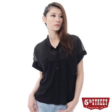 5th STREET 雪紡拼接短袖襯衫-女-黑色