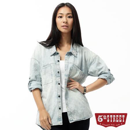 5th STREET 牛仔長版襯衫-女-石洗藍