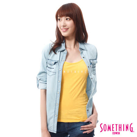 SOMETHING 基本長袖牛仔襯衫-女-重漂藍