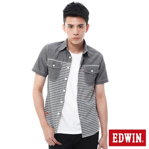 EDWIN 橫條剪接襯衫~男~暗灰色