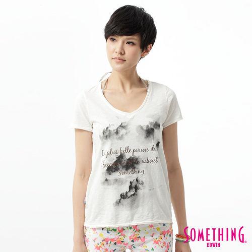 SOMETHING 雲海印花V領T恤~女~白色
