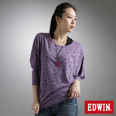 EDWIN 燒花星星寬版T恤-女-紫色