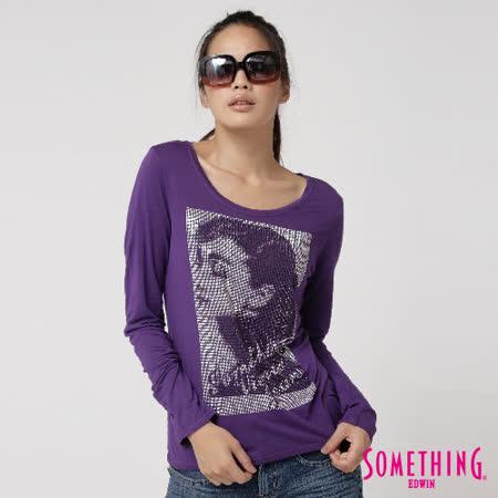 SOMETHING 奧黛莉赫本角鋁長袖T恤-女-紫色