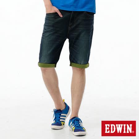 EDWIN 迦績褲JERSEYS雙色反折牛仔短褲-男-原藍磨