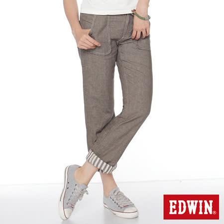 EDWIN MISS EDWIN中直筒休閒褲-女-咖啡色
