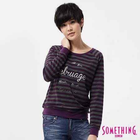 SOMETHING T恤 燙金條紋圓領長袖T恤-女-葡紫