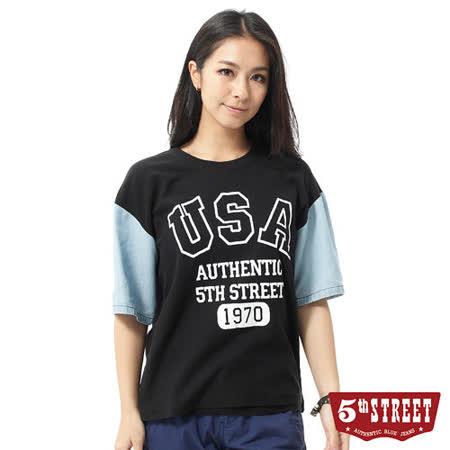 5th STREET 美式棒球落肩T恤-女-黑色
