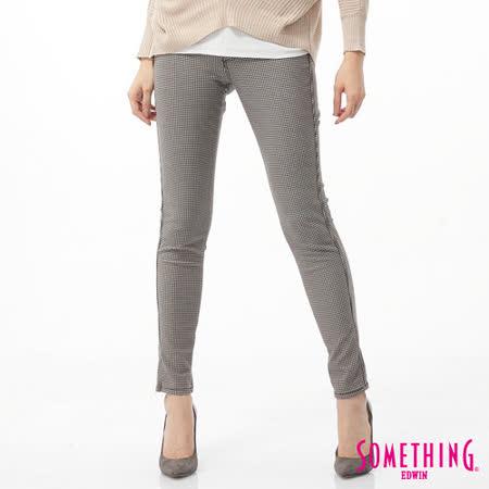 SOMETHING LADIVA千鳥格合身牛仔褲-女-淺卡其
