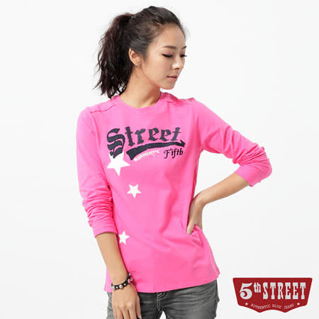 5th STREET T恤 基本繡花長袖T恤-女-桃紅色