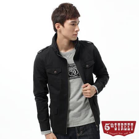 5th STREET 外套 立領軍裝平織外套-男-黑色