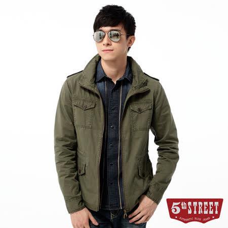 5th STREET 外套 立領軍裝平織外套-男-苔綠