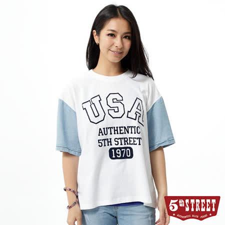 5th STREET 美式棒球落肩T恤-女-米白色