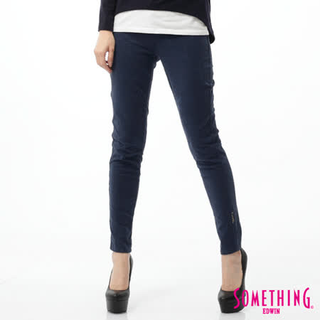 SOMETHING LADIVA植絨合身牛仔褲-女-丈青色