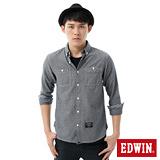 EDWIN 點點牛津襯衫-男-丈青色