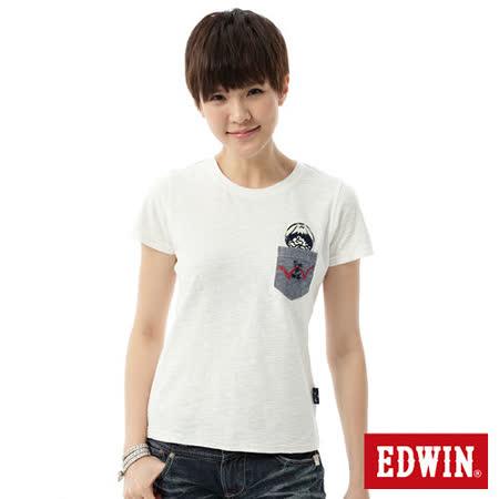 EDWIN 江戶勝口袋氣質短袖T恤-女-米白色