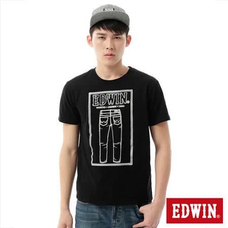 EDWIN 牛仔褲線稿3M反光T恤-男-黑色
