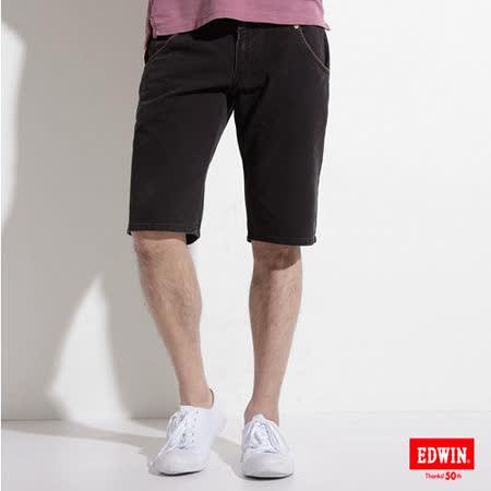 EDWIN B.T 麂皮拼接短褲-男-黑色