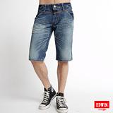 EDWIN 503BT釦絆拉鍊馬褲-男款(漂淺藍)
