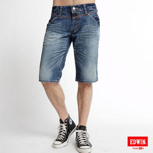 EDWIN 503BT釦絆拉鍊馬褲~男款^(漂淺藍^)