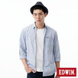 EDWIN 金線質感襯衫-男-淡藍色