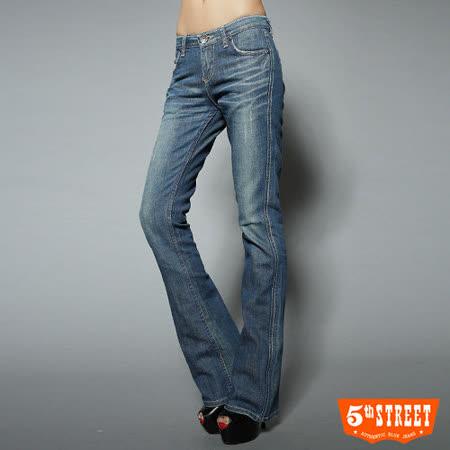 5th STREET 取線第三代靴型牛仔褲-女-石洗藍