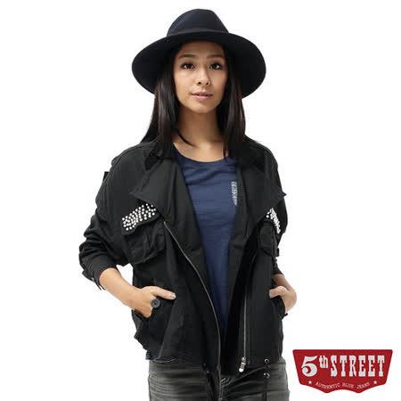5th STREET 垂肩寬襯衫式外套-女-黑色