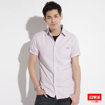 EDWIN 質感小格紋短袖襯衫-男-淺粉紅