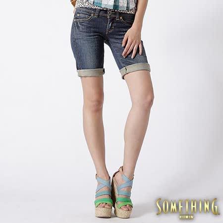 SOMETHING ViENUS低腰窄版短褲-女款(石洗藍)