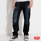 EDWIN E-FUNCTION 窄直筒牛仔褲-男-原藍磨