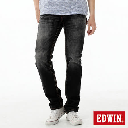 EDWIN 麂皮拉鍊窄管牛仔褲-男-灰色