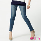 SOMETHING STORYⅢ塑腿超窄直筒牛仔褲-女-拔淺藍