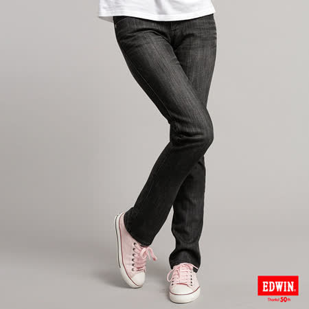 EDWIN 拼貼格紋直筒保溫褲-女-灰色