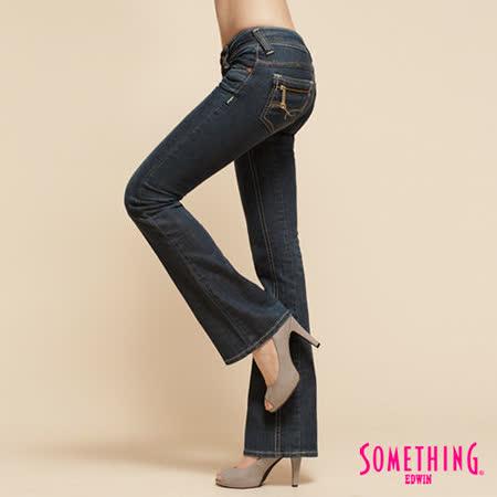 SOMETHING V.C拉鍊中低腰靴型牛仔褲-女-中古藍