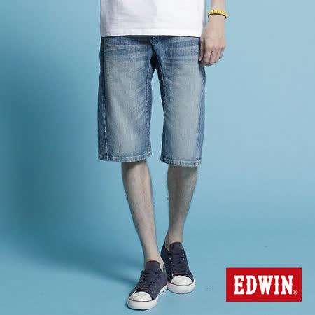 【EDWIN】個性休閒-XV-FUNCTION馬褲-男款(漂淺藍)