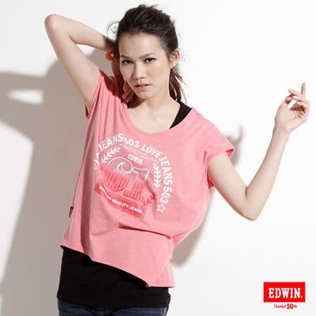 EDWIN 漸層61螢光圖T恤-女-桔紅色