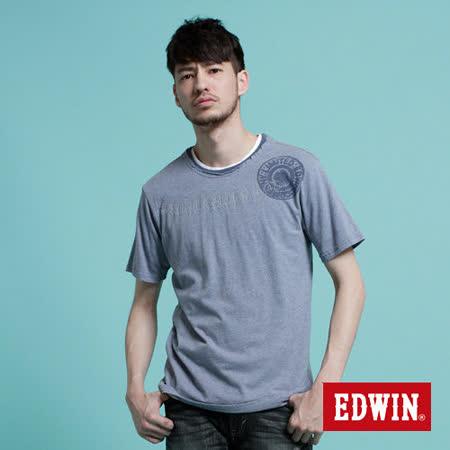 EDWIN 立釦水印不收邊T恤-男-灰藍色