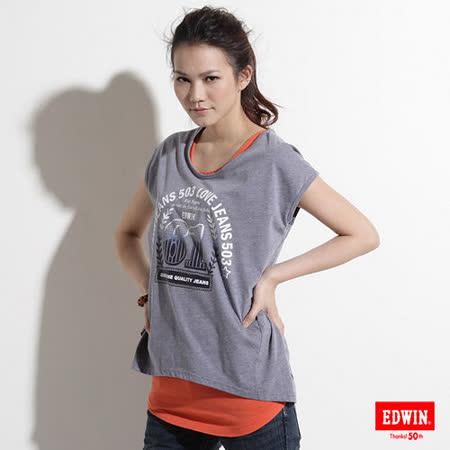 EDWIN 漸層61螢光圖T恤-女-丈青色