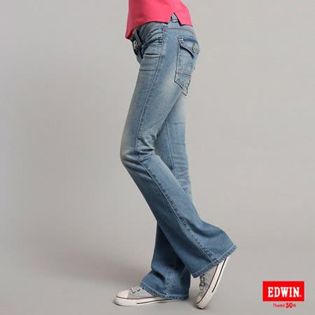 EDWIN MISS EDWIN拼接袋蓋靴型牛仔褲-女-漂淺藍