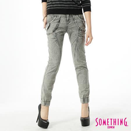 SOMETHING LADIVA束口褲-女-灰褐色