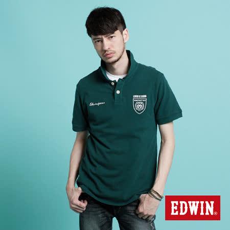 EDWIN 503馬蹄繡花POLO衫-男-苔綠色 S