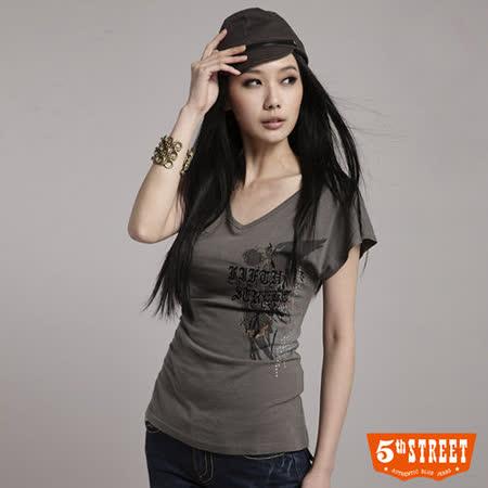 5th STREET 後綁腰V領短袖T恤-女-灰褐色 S