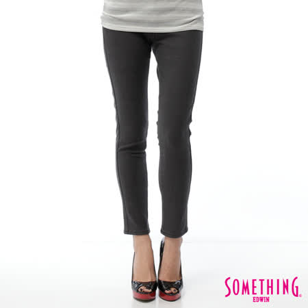 SOMETHING LADIVA窄直筒保溫褲-女-灰褐格